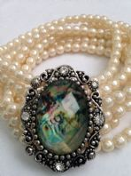 6 Row Magnetic Clasp Cream Faux Pearl MOP Bracelet